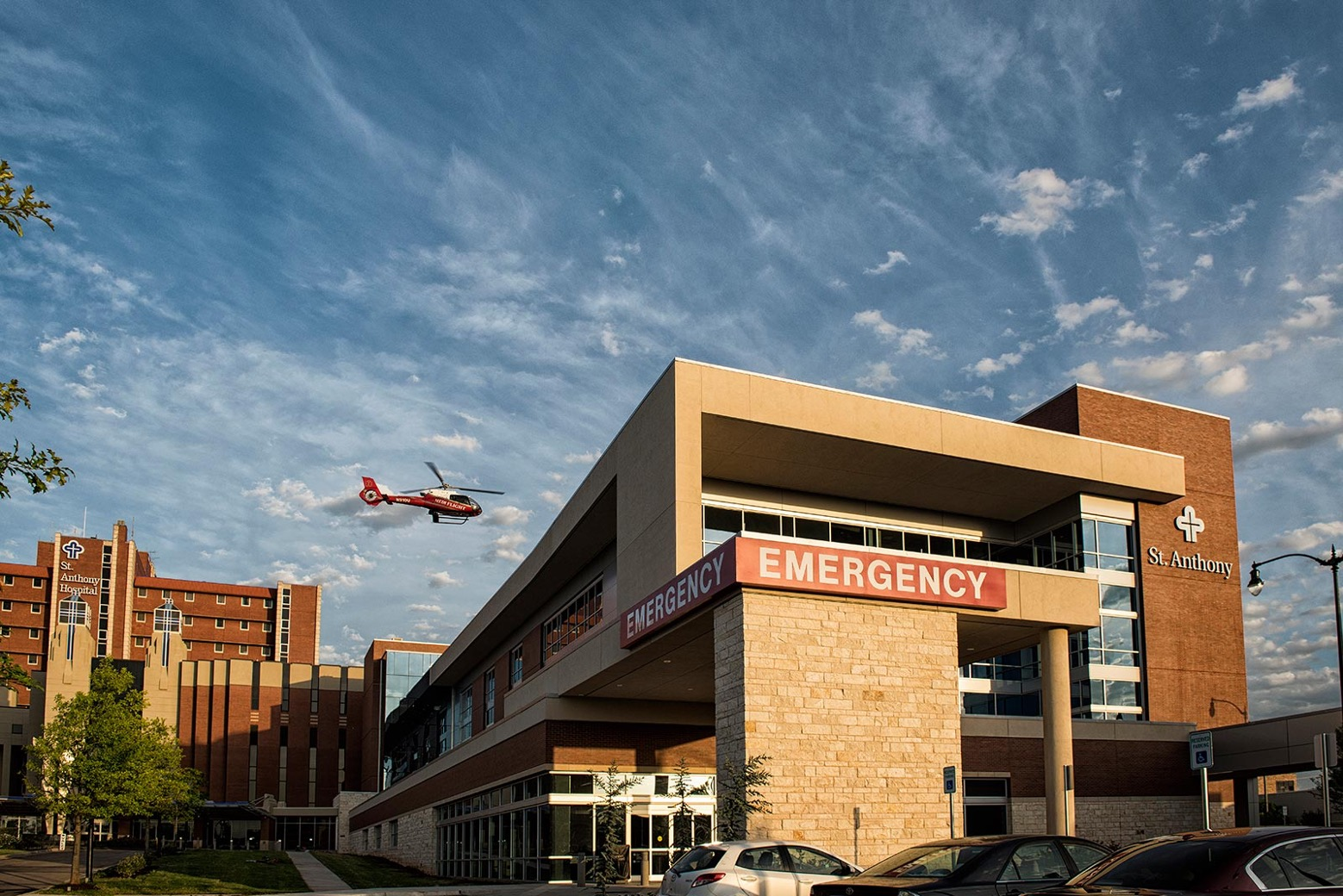 St. Anthony Pavilion helicopter flying into helipad